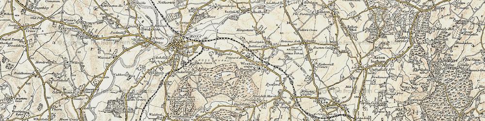 Old map of Weston under Penyard in 1899-1900
