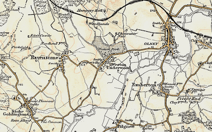Old map of Weston Underwood in 1898-1901
