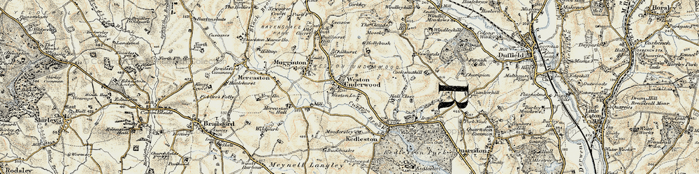 Old map of Weston Underwood in 1902