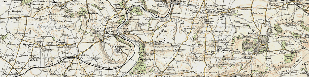 Old map of Westow Grange in 1903-1904