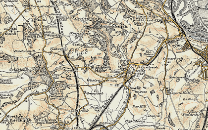 Old map of Westra in 1899-1900