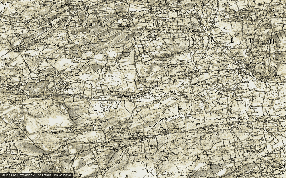 Old Map of Historic Map covering Barbauchlaw Burn in 1904