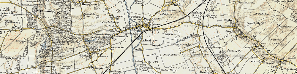 Old map of Westrum in 1903-1908