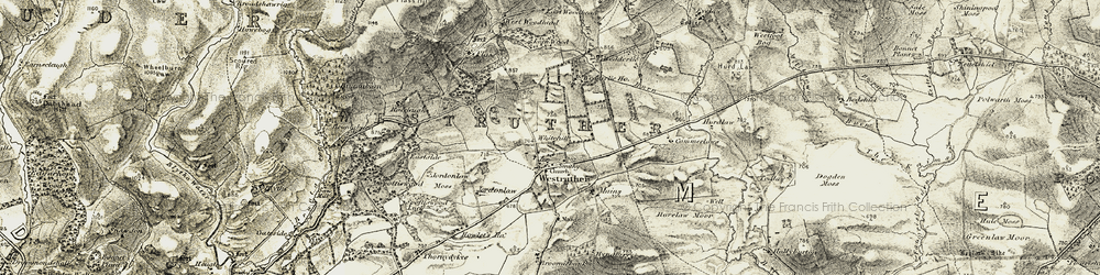 Old map of Westruther Mains in 1903-1904