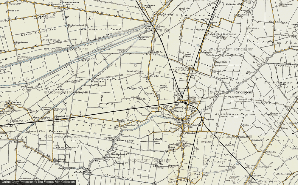 Old Map of Historic Map covering White Moor in 1901-1902