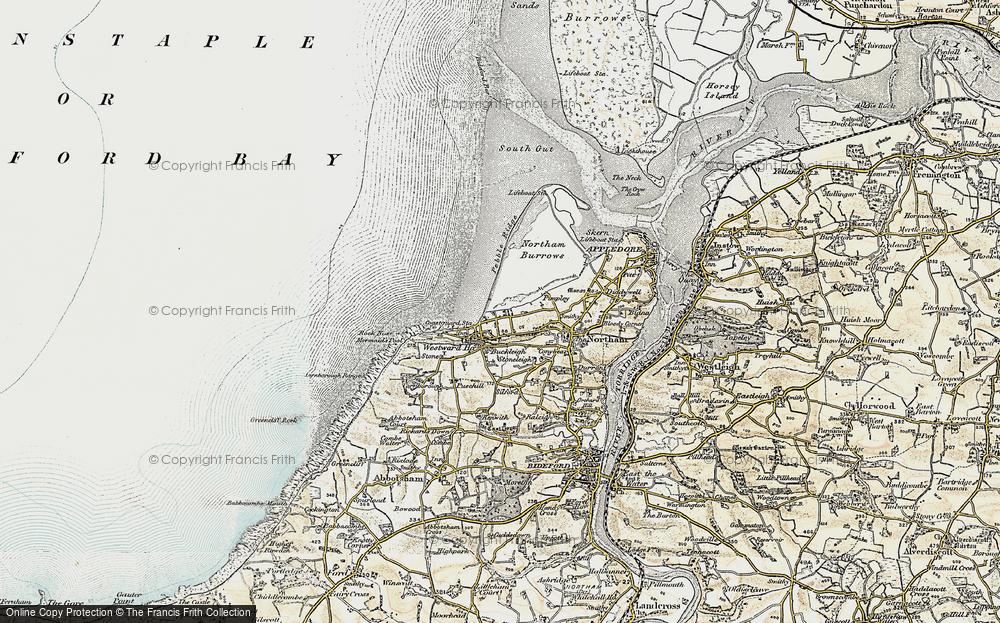 Old Map of Westward Ho!, 1900 in 1900
