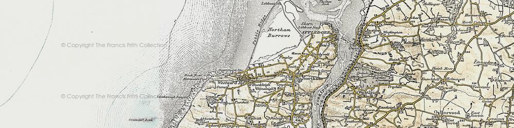 Old map of Westward Ho! in 1900