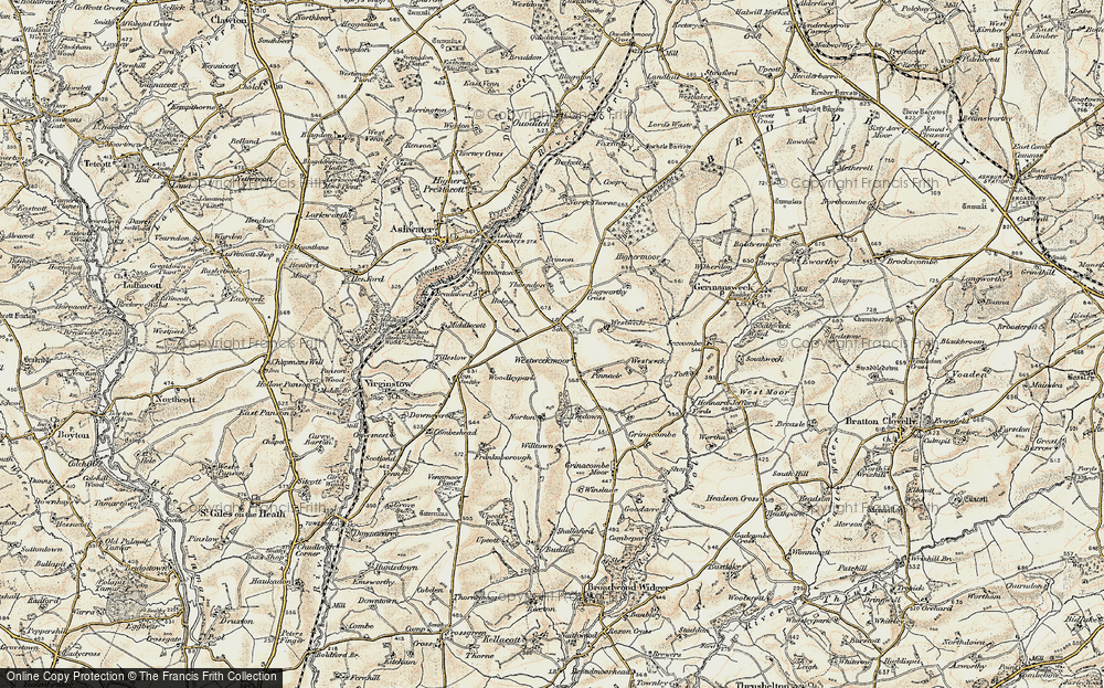 Old Map of Historic Map covering Westweek in 1900