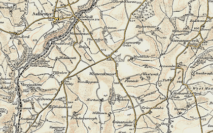 Old map of Westweek Barton in 1900