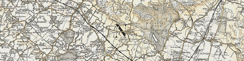 Old map of Westwell in 1897-1898