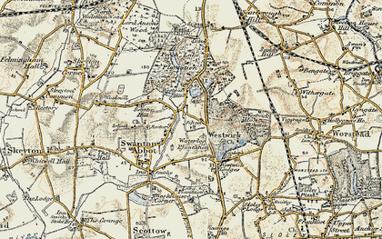 Old map of Westwick in 1901-1902