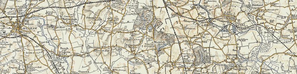 Old map of Westwick Hill in 1901-1902