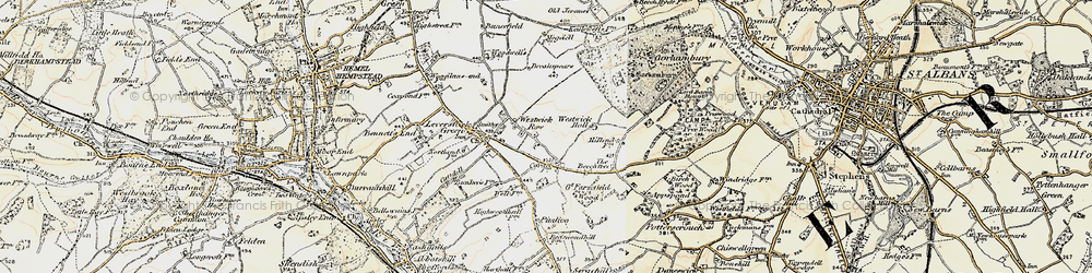 Old map of Westwick Hall in 1898