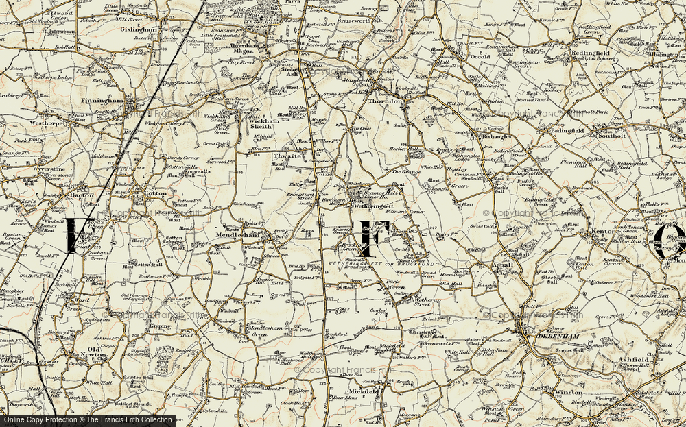 Old Map of Wetheringsett, 1901 in 1901