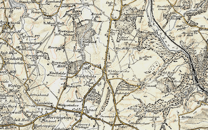 Old map of Wetley Rocks in 1902