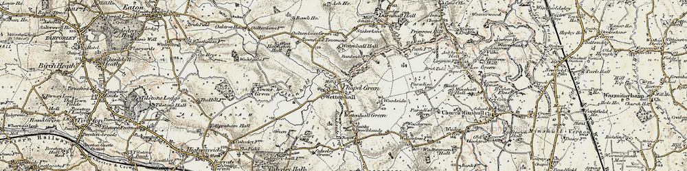 Old map of Wettenhall in 1902-1903