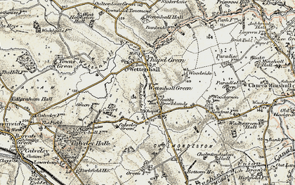 Old map of Wettenhall Green in 1902-1903