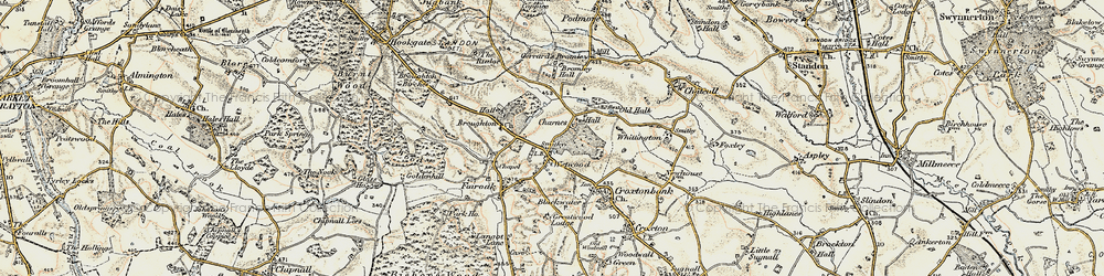 Old map of Wetwood in 1902