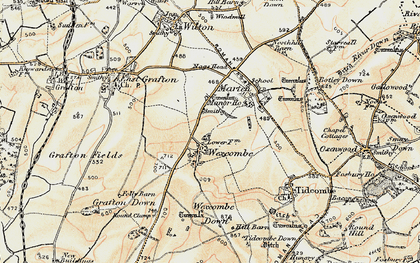 Old map of Wexcombe Down in 1897-1899