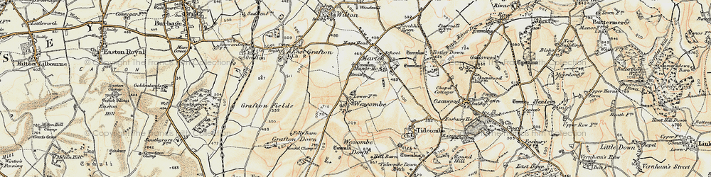 Old map of Wexcombe in 1897-1899