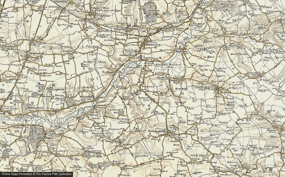 Old Map of Weybread, 1901-1902 in 1901-1902