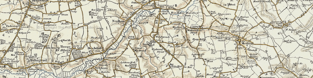 Old map of Weybread in 1901-1902