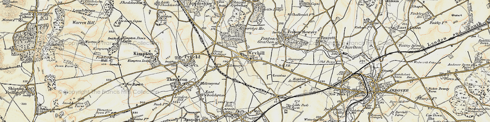 Old map of Weyhill in 1897-1900