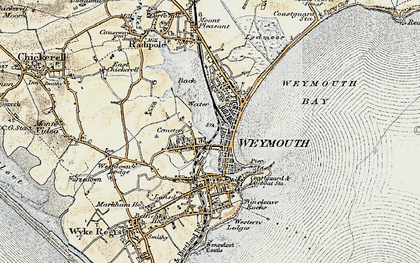 Old map of Weymouth in 1899