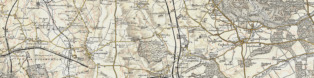 Old map of Whaley Common in 1902-1903