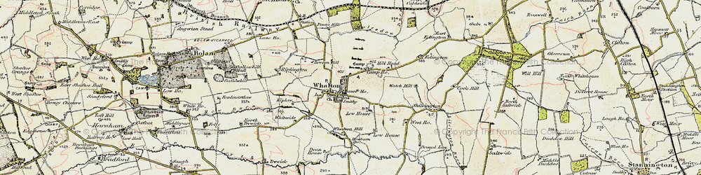 Old map of Whalton in 1901-1903