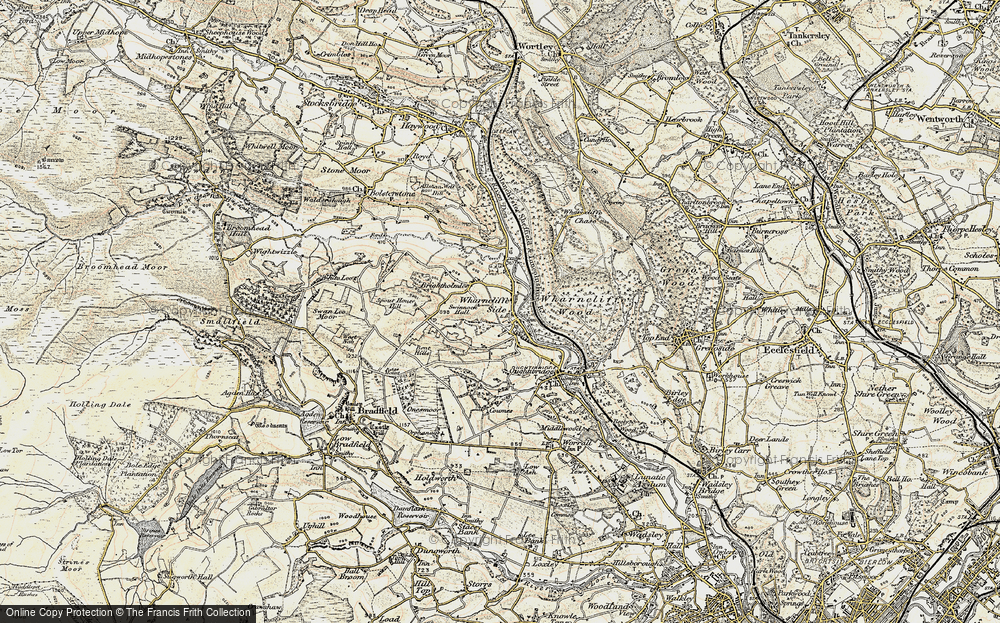 Old Map of Wharncliffe Side, 1903 in 1903