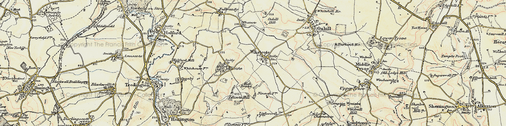 Old map of Whatcote in 1899-1901
