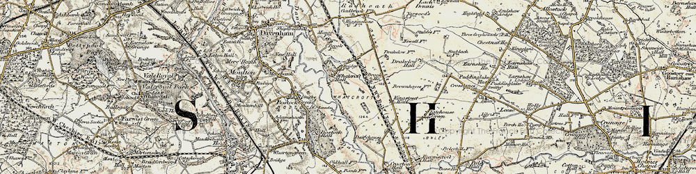 Old map of Whatcroft in 1902-1903