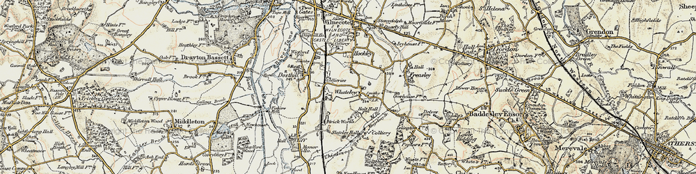 Old map of Whateley in 1901-1902
