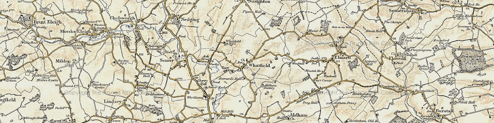 Old map of Whatfield in 1899-1901