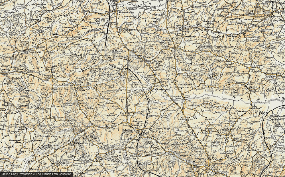 Old Map of Historic Map covering Wood's Place in 1898