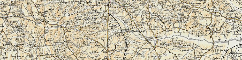 Old map of Whatlington in 1898