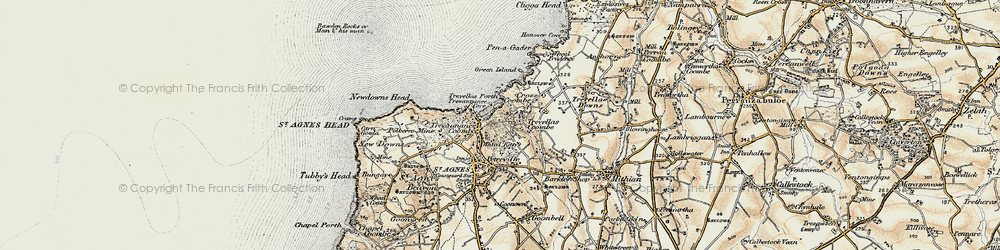 Old map of Wheal Kitty in 1900
