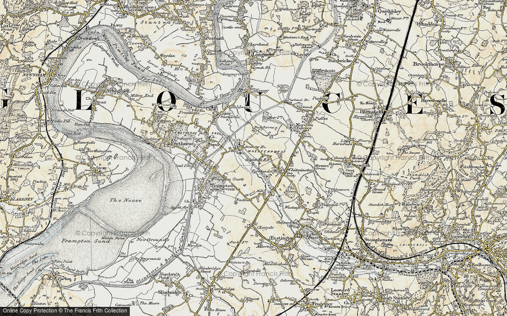 Old Map of Historic Map covering Whitminster Ho in 1898-1900