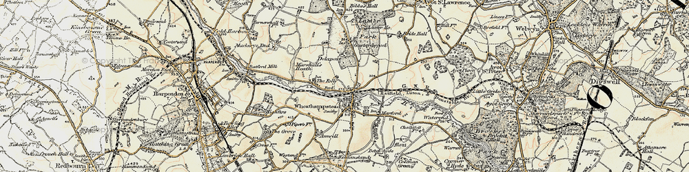 Old map of Wheathampstead in 1898-1899