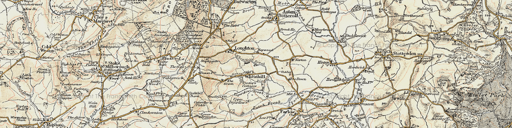 Old map of Wheathill Brook in 1901-1902