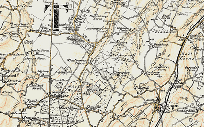 Old map of Wheelbarrow Town in 1898-1899