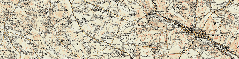 Old map of Wheeler End in 1897-1898