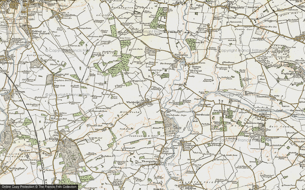 Old Map of Historic Map covering Wheldrake Grange in 1903
