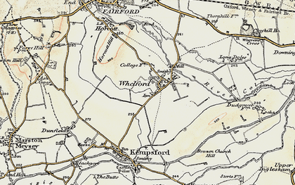 Old map of Whelford in 1898-1899