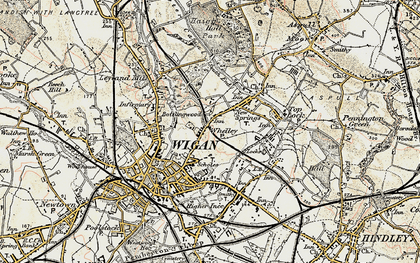 Old map of Whelley in 1903