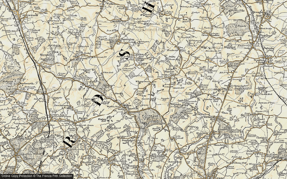 Old Map of Whempstead, 1898-1899 in 1898-1899