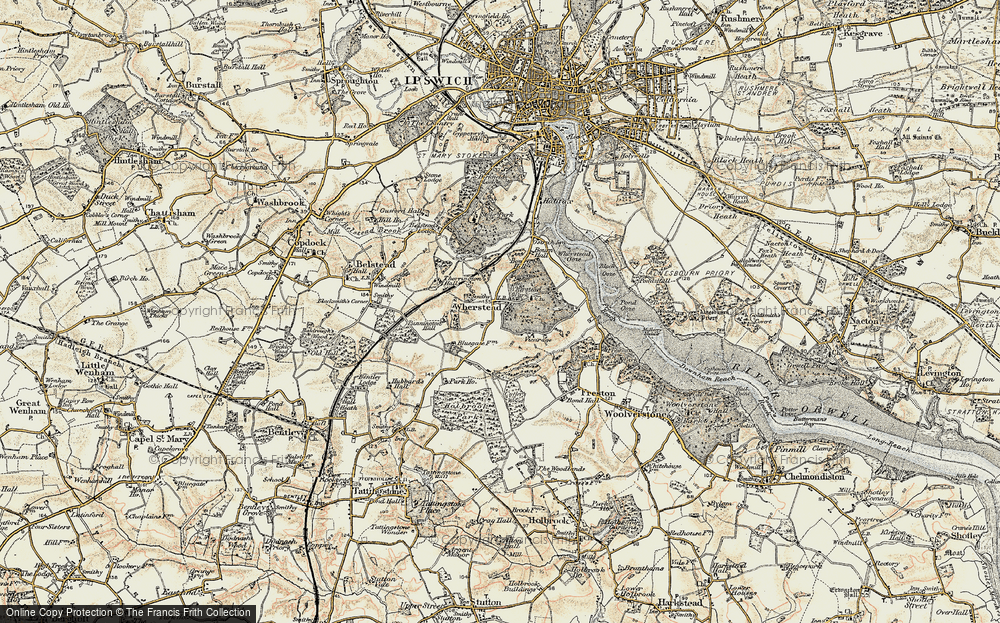 Old Map of Historic Map covering Wherstead Park in 1898-1901