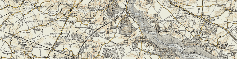 Old map of Wherstead in 1898-1901