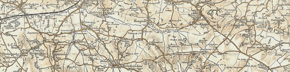 Old map of Whetley Cross in 1898-1899
